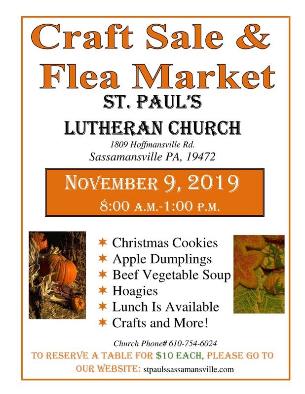 Craft Sale and Flea Market | St. Paul's Lutheran Church of Sassamansville