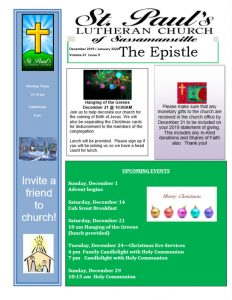 December 2019 Newsletter Cover | St. Paul's Lutheran Church