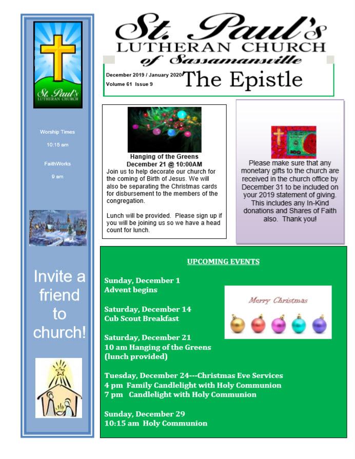December 2019 Newsletter Cover | St. Paul's Lutheran Church