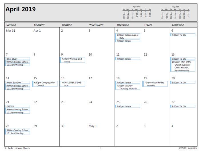 april calendar 2019 st lukes