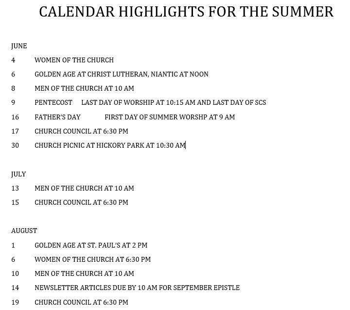 calender summer 2019 st lukes lutheran
