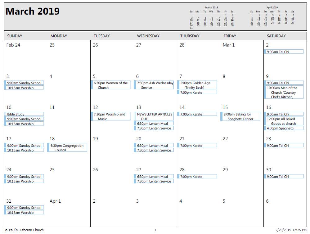 march 2019 calendar st pauls